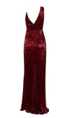 Pretty Woman Burgundy Sequin Sleeveless Cross Wrap V Neck Drape Split Maxi Dress