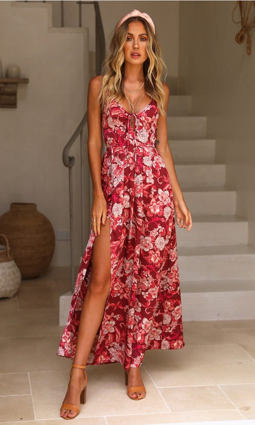 Island Hideaway Red Floral Pattern Sleeveless Spaghetti Strap Backless Lace Up V Neck Split Casual Maxi Dress