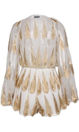 7e383f4d69b9 Gold Standard White Metallic Gold Feather Long Bell Sleeve Plunge V Neck  Tie Waist Romper Playsuit