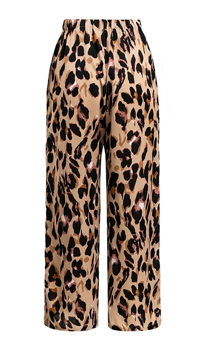 Going Big Leopard Print Animal Pattern Elastic Waist Wide Leg Loose Palazzo Pants