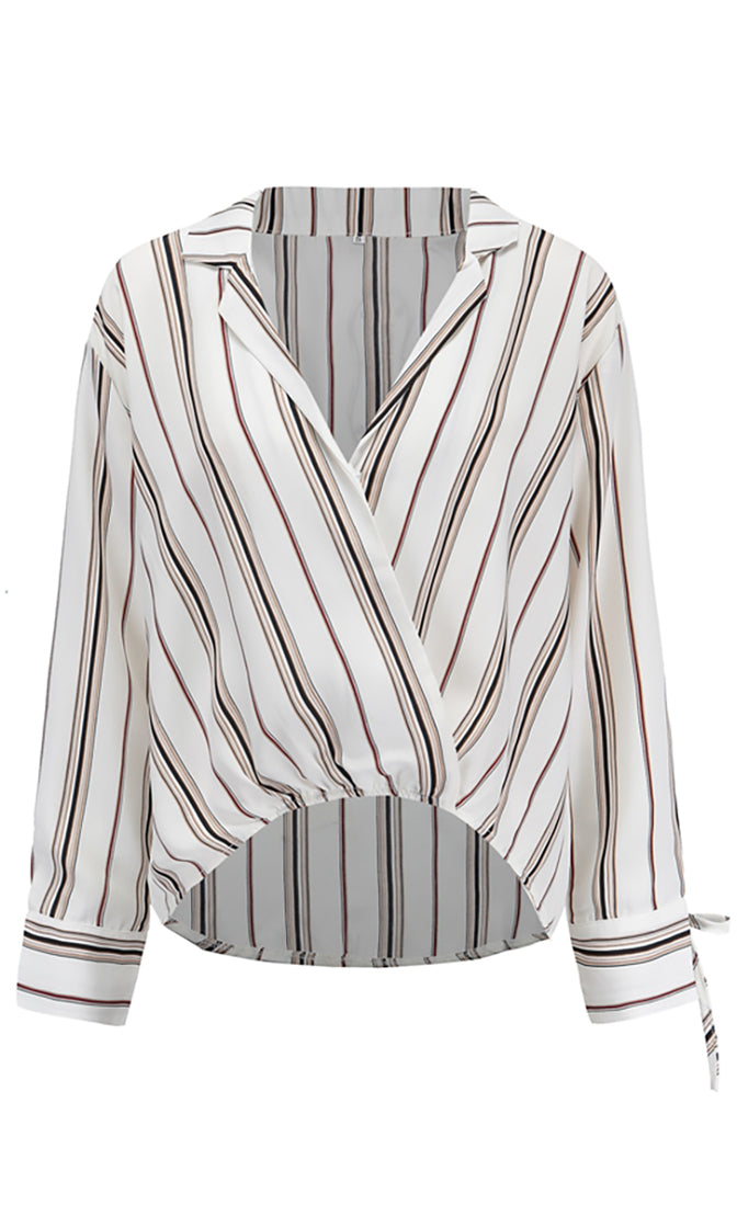 Stay in Your Lane V Neck Wrap Long Sleeve Brown White Striped Collared Blouse Top