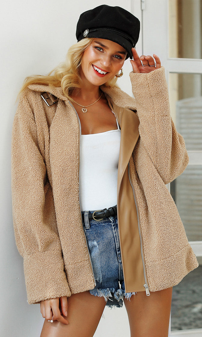 Fabulous Fall Light Brown Faux Teddy Fur Long Sleeve Zip Front PU Trim Coat Outerwear