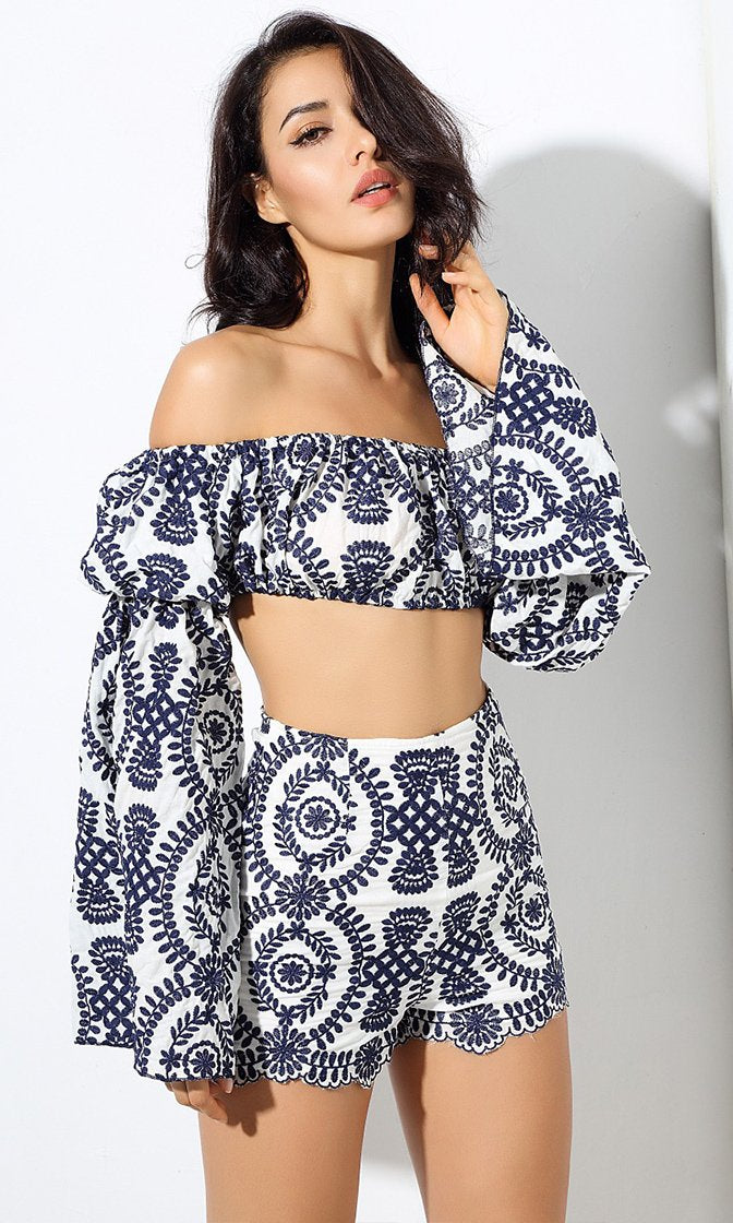 Island Invitation Geometric Long Flare Sleeve Off The Shoulder Crop Top and Short Two Piece Set - 2 Colors Available