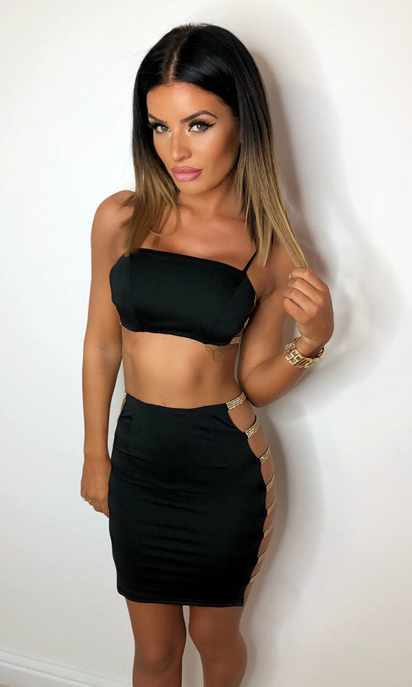 Light In The Dark Black Sleeveless Spaghetti Strap Bandeau Crop Top Crystal Cut Out Side Bodycon Two Piece Mini Dress
