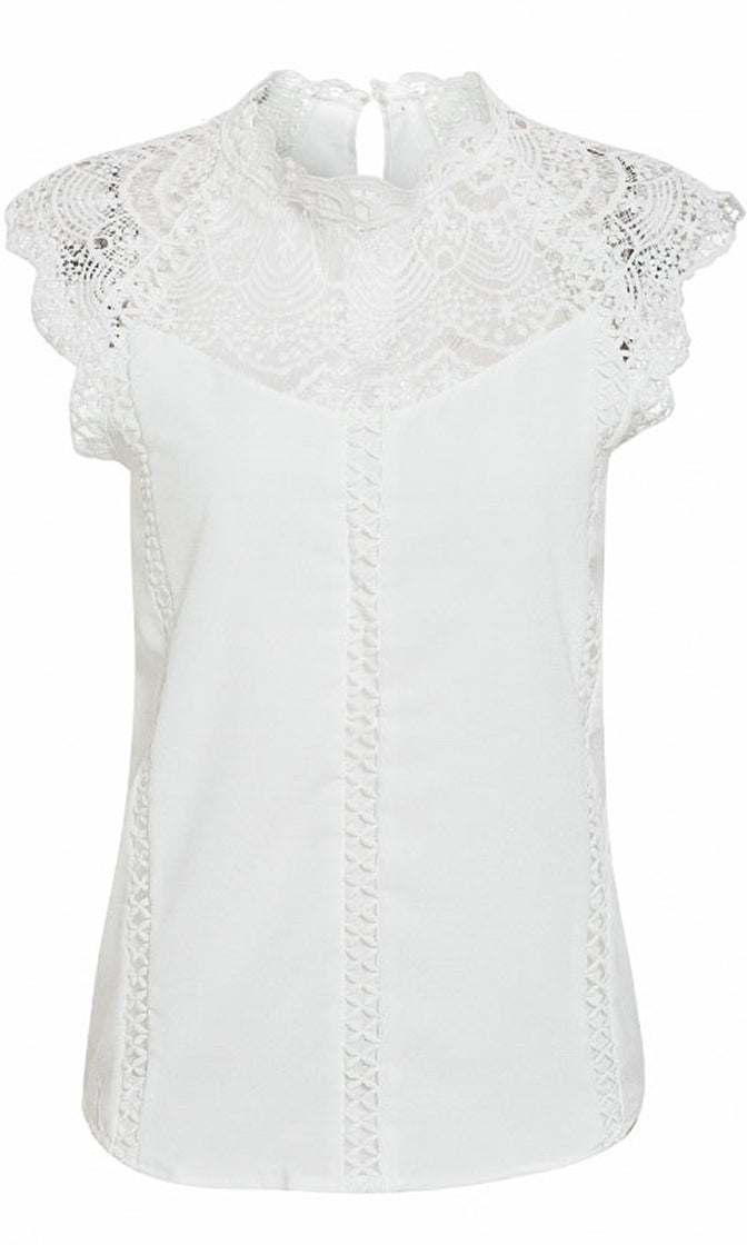 Just Once Sheer Mesh Lace Cap Sleeve Mock Neck Chiffon Blouse Top - 2 Colors Available