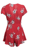 Pocket Full Of Posies Red Floral Pattern Short Sleeve V Neck Tie Waist Romper Playsuit-  Sold Out