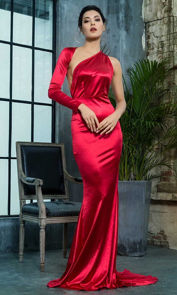 34c6a7785887 Hollywood Mystery Red Satin One Shoulder One Long Sleeve Backless Mermaid  Maxi Dress