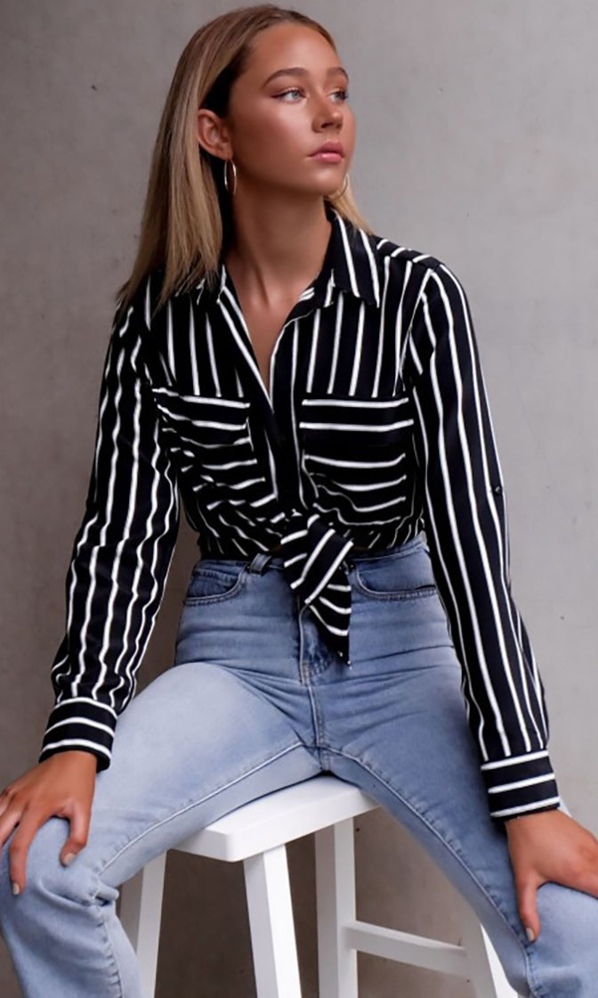 Creative Differences Black White Contrast Stripe Long Sleeve Button Up Collared Blouse Top