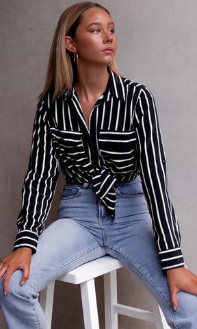 Stay in Your Lane V Neck Wrap Long Sleeve Brown White Striped Collared Blouse Top - Sold Out