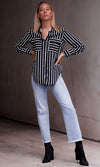 Creative Differences Black White Contrast Stripe Long Sleeve Button Up Collared Blouse Top - Sold Out