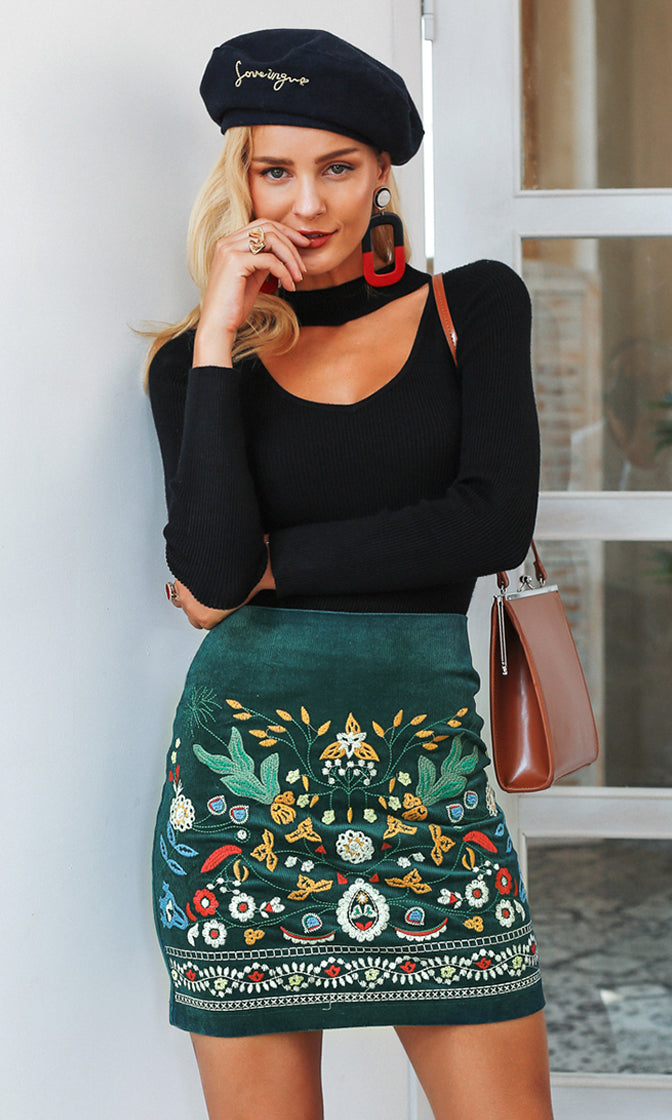 Folk Singer Green Corduroy Floral Pattern Embroidery Pencil Mini Skirt