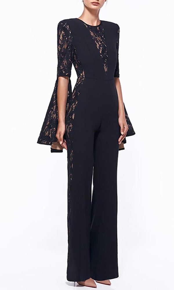 Uptown Affair Black Lace Long Flare Sleeve Scoop Neck Jumpsuit