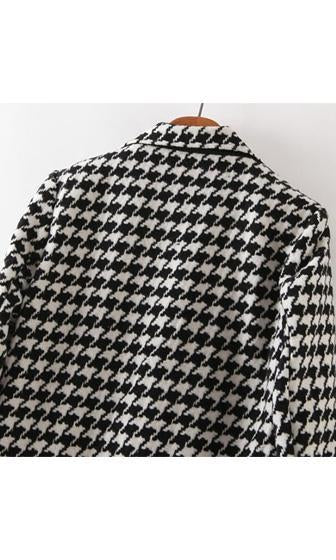 Nine To Five Black White Houndstooth Long Sleeve Single Breasted Button Coat - Sold Out