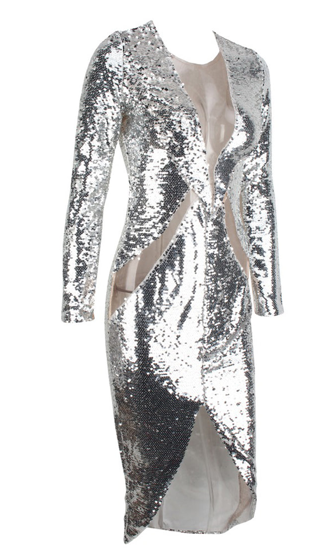 Bottle Service Silver Sequin Sheer Mesh Long Sleeve Plunge V Front Slit Bodycon Midi Dress - Sold Out