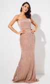 Shining Example Champagne Sequin Strapless Elastic Waist Maxi Dress