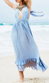 Happy Thoughts Light Blue Sleeveless Crisscross Halter Backless Ruffle Maxi Dress - Sold out