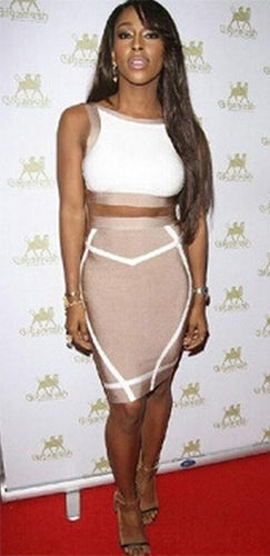 Tweet Me Beige White Sleeveless Scoop Neck Backless Crop Bandage Two Piece Bodycon Midi Dress - Sold Out