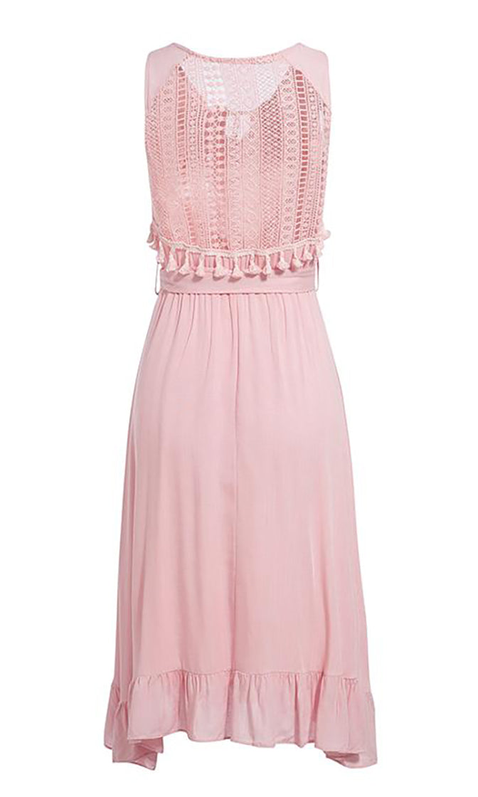 Flirty Afternoon Sleeveless V Neck Tie Tassel Embroidery Flare Ruffle Casual A Line Midi Dress - 3 Colors Available