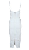 On The Rebound White Lace Trim Sleeveless Spaghetti Strap Bustier Bodycon Bandage Midi Dress - Sold Out