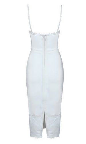 On The Rebound White Lace Trim Sleeveless Spaghetti Strap Bustier Bodycon Bandage Midi Dress
