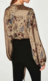 Zen Garden Khaki Floral Pattern Satin Long Lantern Sleeve Cross Wrap V Neck Tie Waist Bodysuit Top - Sold Out