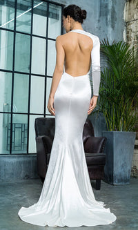 Hollywood Mystery Silver Satin One Shoulder One Long Sleeve Backless Mermaid Maxi Dress