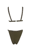 South Shore Black Sleeveless V Neck Grommet High Cut Brazilian Two Piece Bikini Swimsuit - Sold Out