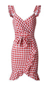 Call Me Sometime Blue White Gingham Plaid Pattern Sleeveless Ruffle Cross Wrap V Neck Tie Belt Casual Mini Dress