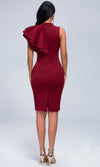 Full Moon Burgundy Sleeveless One Shoulder Ruffle Mock Neck Bodycon Midi Dress
