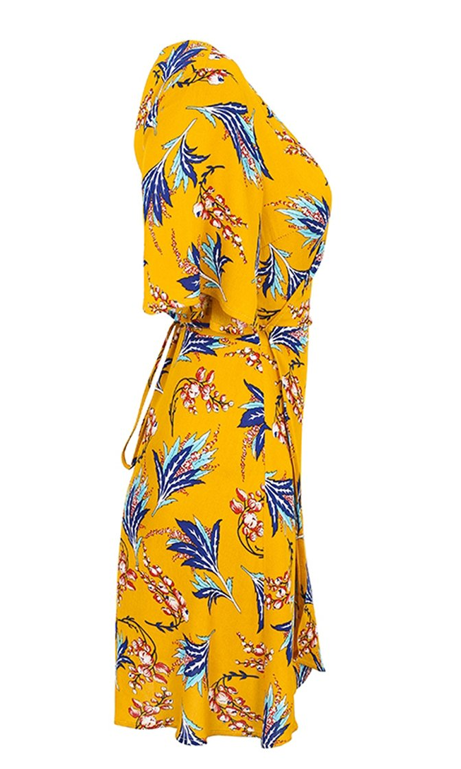 Golden Sunset Yellow Floral Pattern Short Sleeve Cross Wrap V Neck Casual Mini Dress - Sold Out