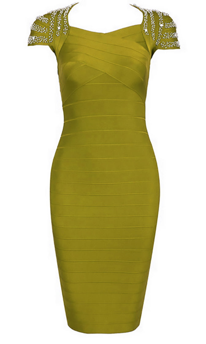 Feel It Now Beaded Stud Short Sleeve V Neck Bodycon Bandage Midi Dress - 3 Colors Available