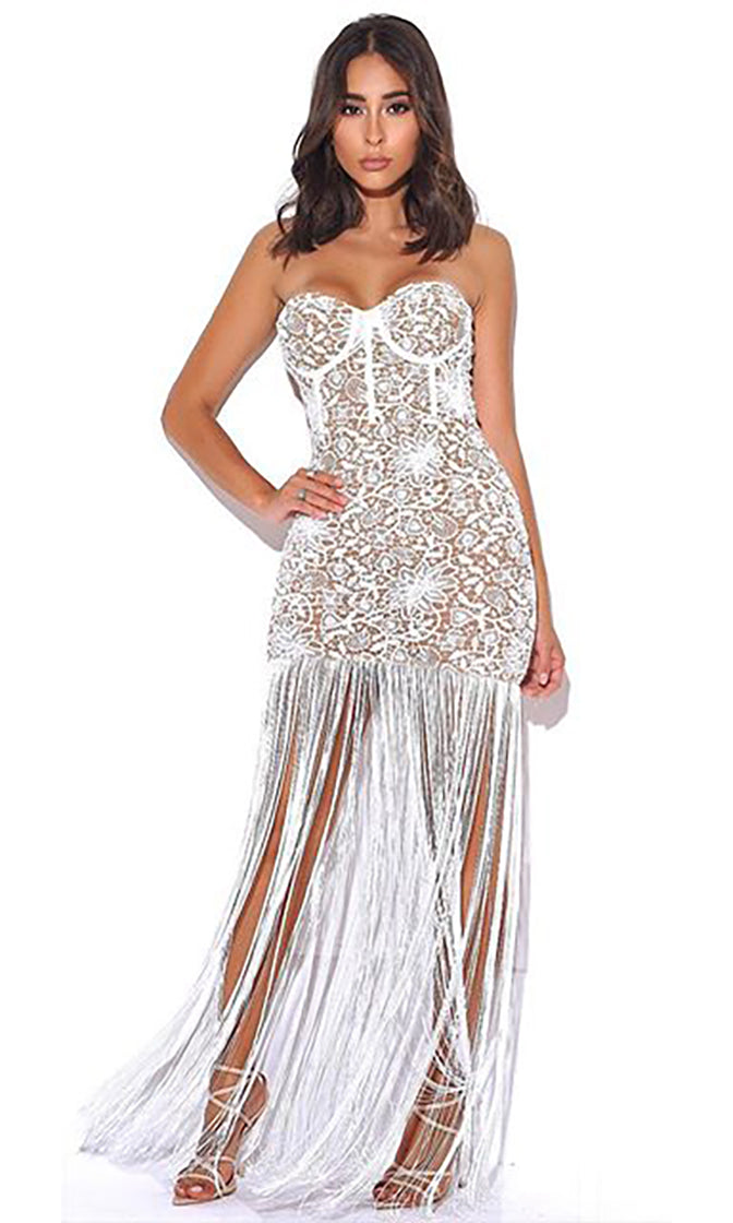 Close To You White Sheer Mesh Lace Strapless Bustier Fringe Tassel Bodycon Maxi Dress