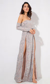 Give It Up Silver Glitter Swirl Pattern Long Sleeve Off The Shoulder Double Slit Maxi Dress