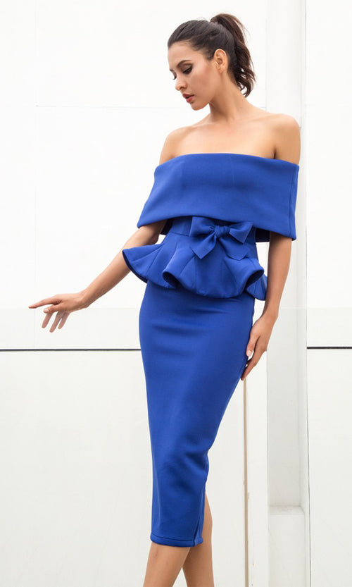 Status Quo Royal Blue Off The Shoulder Bow Belt Ruffle Peplum Top Midi Skirt Two Piece Dress