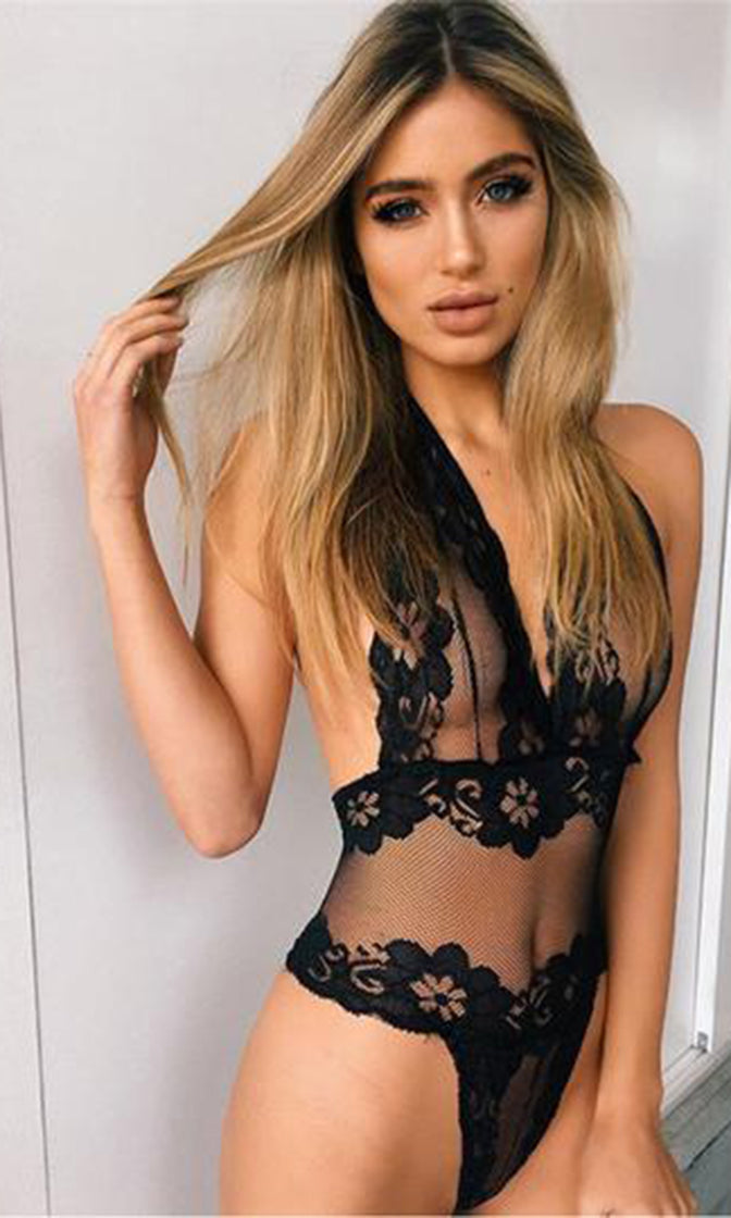 Showing It All Black Sheer Mesh Lace Sleeveless Plunge V Neck Backless Halter Lingerie Bodysuit Top