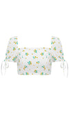 Dolce Vita Light Blue White Hook Eye Bustier Sleeveless Porcelain China Print Pattern Crop Top