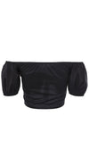 Venice Beach Black Short Puff Sleeve Off The Shoulder Tie Front Crop Top Blouse - Sold Out
