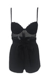 Clap Back Black Sheer Mesh Lace Sleeveless Spaghetti Strap V Neck Tie Belt Romper Playsuit