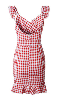 Call Me Sometime Gingham Plaid Pattern Sleeveless Ruffle Cross Wrap V Neck Tie Belt Casual Mini Dress - 2 Colors Available
