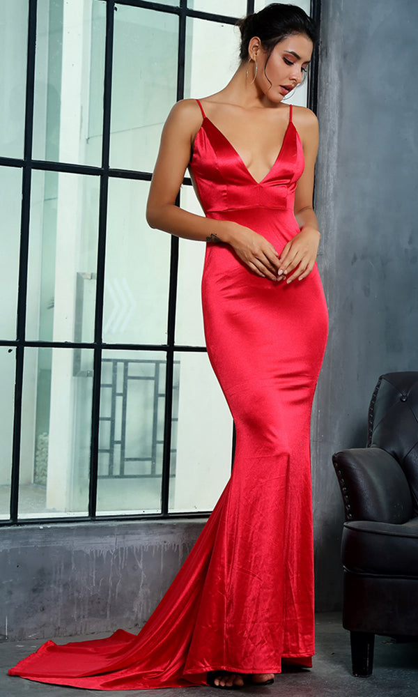 It's My Night Red Sleeveless Spaghetti Strap Plunge V Neck Backless Ruched Mermaid Maxi Dress