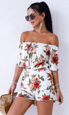 Age of Innocence White Garden Floral Pattern Short Sleeve Off The Shoulder Elastic Waist Ruffle Romper Playsuit  - Sold Out