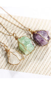 Rock Garden Metal Chain Wrapped Rock Crystal Pendant Necklace - 4 Colors Available
