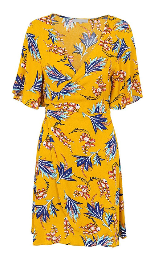 Golden Sunset Yellow Floral Pattern Short Sleeve Cross Wrap V Neck Casual Mini Dress