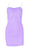Candy Kisses Sheer Mesh Sleeveless Spaghetti Strap V Neck Ruched Bodycon Mini Dress