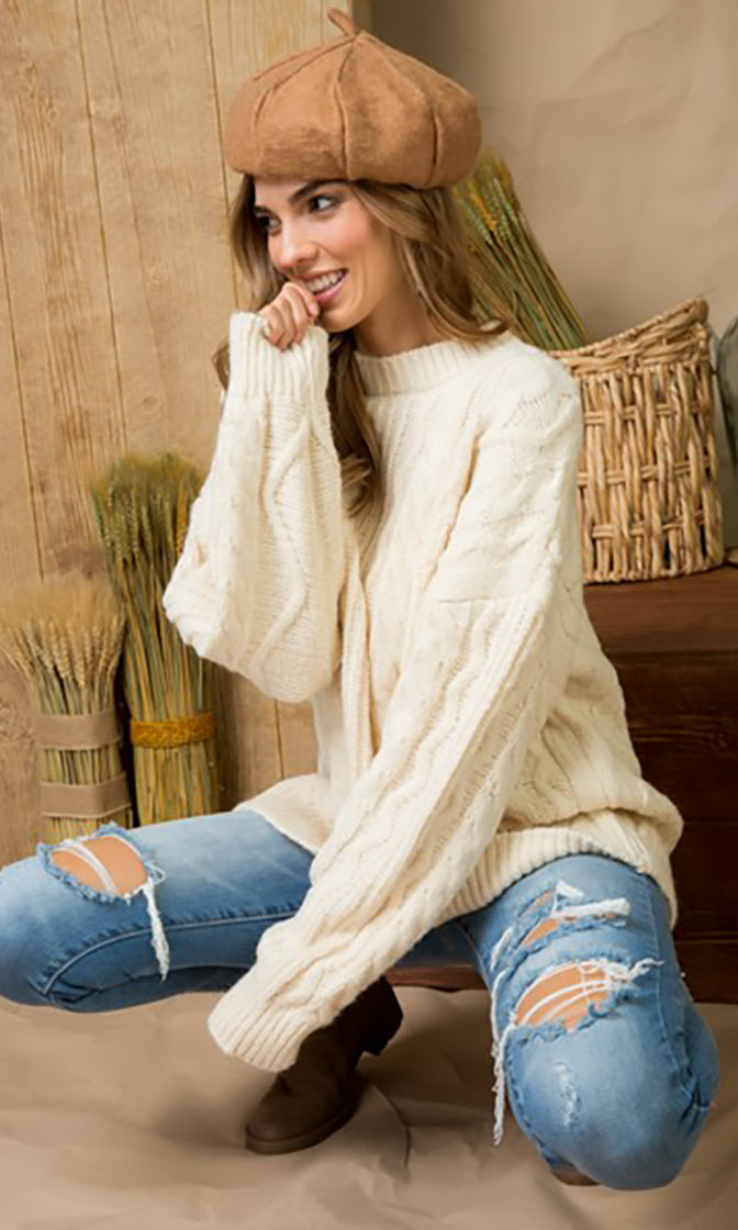 Winter Whispers Long Sleeve Crew  Neck Cable Knit Pullover Sweater - 2 Colors Available - Sold Out