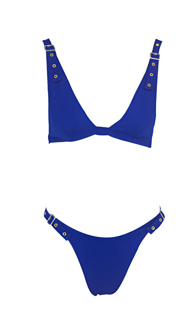 South Shore Sleeveless V Neck Grommet High Cut Brazilian Two Piece Bikini Swimsuit - 5 Colors Available
