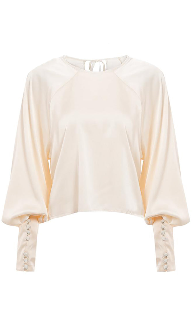 Full Of Love Cream Long Lantern Sleeve Button Cuff Round Neck Blouse Top