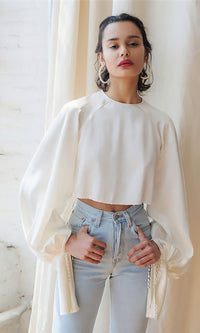 Modern Poet White Extra Long Lantern Sleeve Crew Neck Keyhole Back Crop Top Blouse - Sold Out