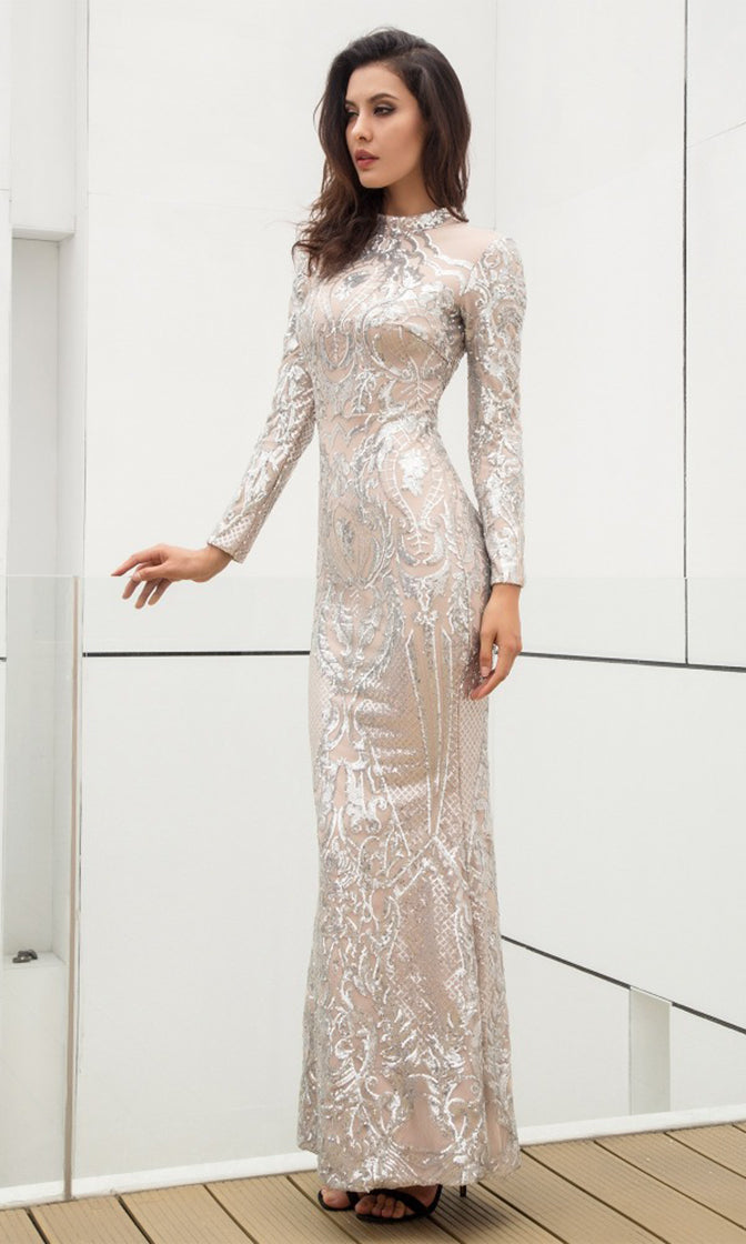 No Wonder Silver Sequin Geometric Pattern Long Sleeve Mock Neck Bodycon Trumpet Maxi Dress