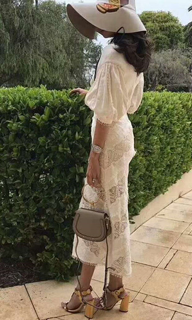 Rise To The Challenge White Lace Short Puff Sleeve V Neck Casual Midi Dress - Sold Out